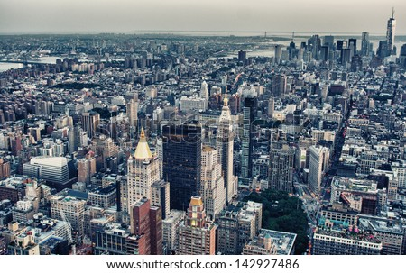 Aerial view of East Village and Lower Manhattan at summer sunset, New York City. - stock photo