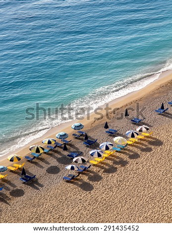 Aerial View of Egremni Beach, Lefkada Island, Greece - stock photo