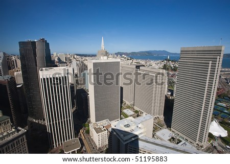 Aerial view of Embarcadero Center in San Francisco - stock photo