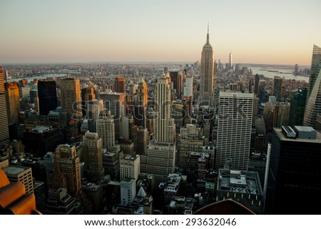 aerial view of empire state buindig new york city manhattan - stock photo