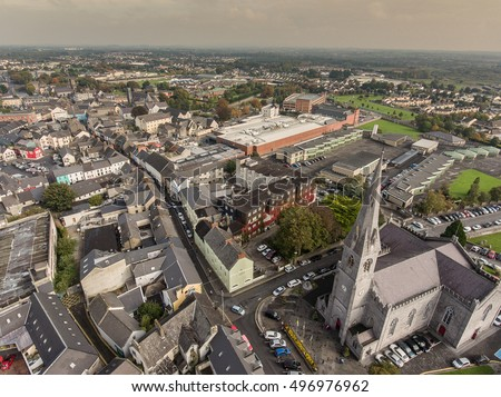 Aerial view of Ennis town city in county Clare, Ireland. The Cathedral of Saints Peter and Paul, is the cathedral church  Roman Catholic Diocese of Killaloe. Skyline city Ennis, County Clare, Ireland