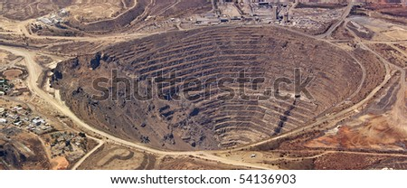 Aerial view of enormous copper mine at palabora, south africa - stock photo