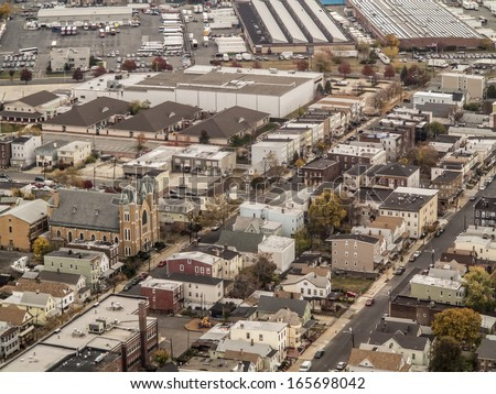 aerial view of established town in new jersey - stock photo