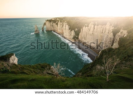 Aerial view of Etretat cliffs in Normandy,France.