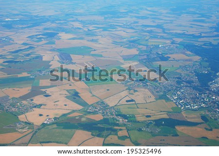 Aerial view of European countryside with fields - stock photo