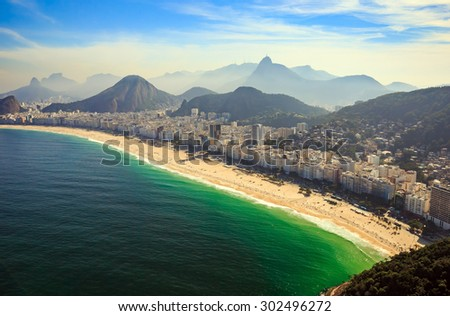 Aerial view of famous Copacabana Beach and Ipanema beach in Rio de Janeiro, Brazil - stock photo