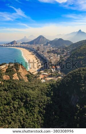 Aerial view of famous Copacabana Beach and Ipanema beach in Rio de Janeiro, Brazil - stock photo