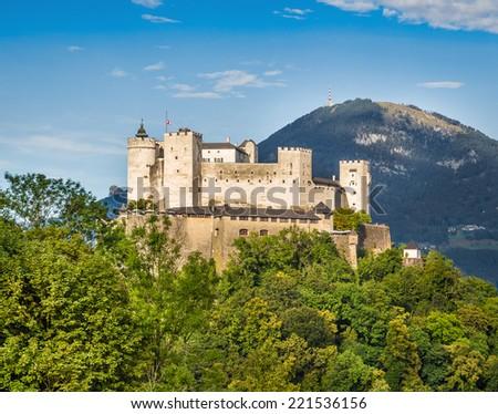 Aerial view of famous Hohensalzburg Fortress in Salzburg, Salzburger Land, Austria - stock photo