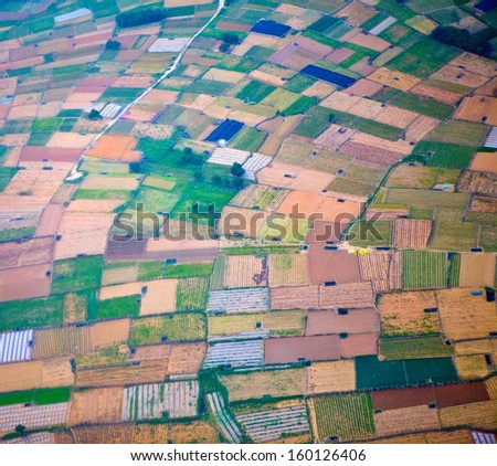 Aerial view of farmland - stock photo