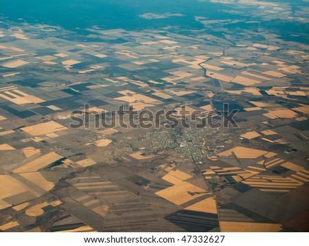 Aerial view of Farmland Surrounding the City of Brisbane in Queensland Australia - stock photo