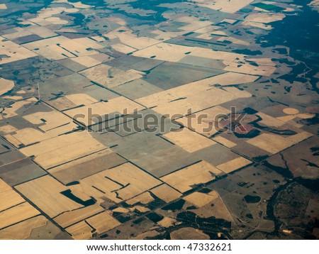 Aerial view of fertile farmland patterns in  Queensland Australia - stock photo