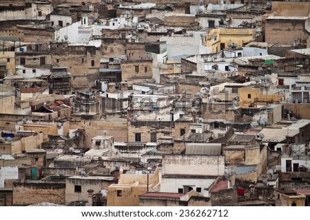 Aerial view of Fes, Morocco - stock photo