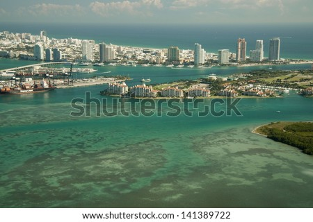 Aerial view of Fisher Island in Miami, Florida, U.S.A. - stock photo