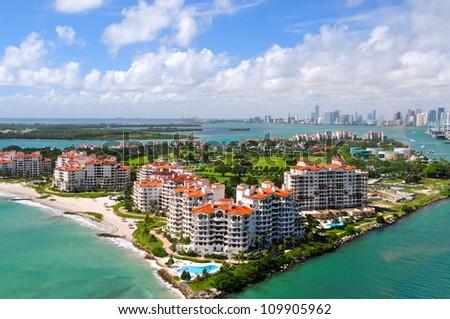 Aerial view of Fisher Island, Miami, Florida, USA - stock photo