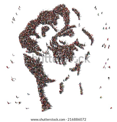 Aerial view of Fist Symbol drawn out of people protesting - stock photo