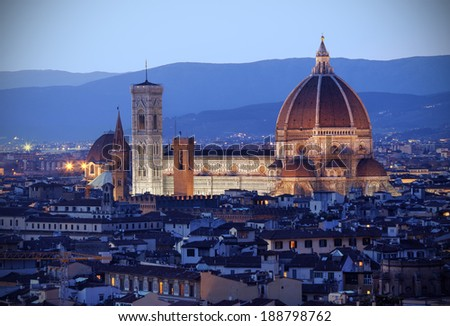 Aerial view of Florence at dusk - stock photo