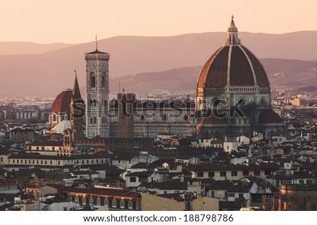Aerial view of Florence at sunset - stock photo