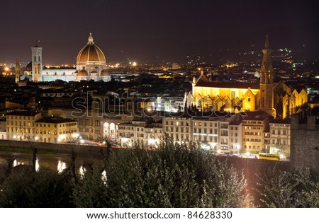 aerial view of Florence or firenze cityscape at dusk Italy
