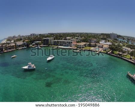 Aerial view of Florida coastline and inlet near Pompano Beach, Florida - stock photo