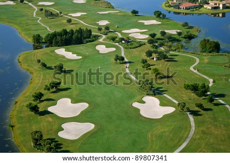 aerial view of florida scenic golf course - stock photo