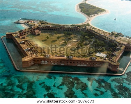 Aerial view of Fort Jefferson National Park at the Dry Tortugas, Florida - stock photo