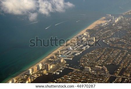 Aerial view of Fort Lauderdale Beach and waterways - stock photo