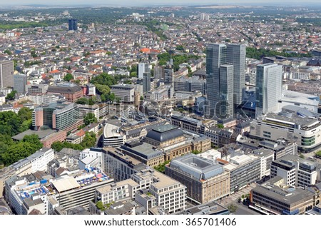 Aerial view of Frankfurt am Main, Germany, from the observation platform of Main Tower. Frankfurt is the largest financial centre in continental Europe. - stock photo