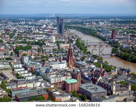 Aerial view of Frankfurt am Main in Germany