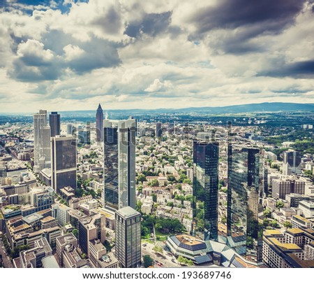 Aerial view of Frankfurt am Main skyline with retro vintage Instagram style effect, Hessen, Gemany - stock photo