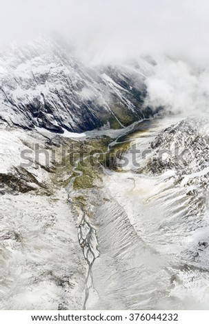 Aerial view of Franz Josef glacier from helicopter in New Zealand - stock photo