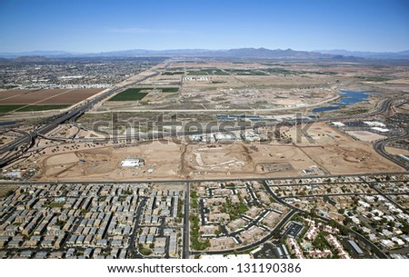 Aerial view of future baseball training facility - stock photo