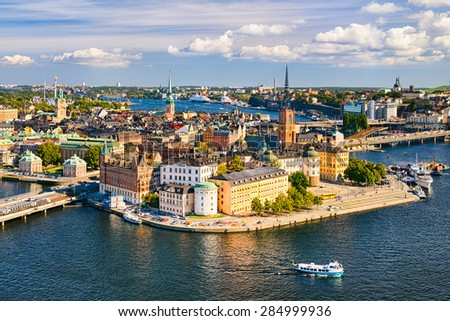 Aerial view of Gamla Stan (old town) in Stockholm, Sweden - stock photo
