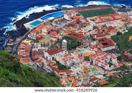 Aerial view of Garachico town, Tenerife, Canary Islands, Spain