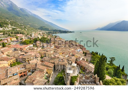 Aerial View of Garda Lake in summer day - stock photo