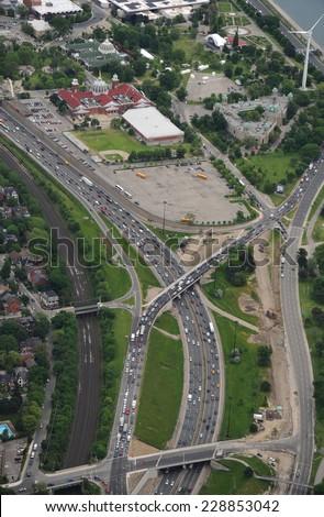 Aerial view of Gardiner expressway in Toronto - stock photo