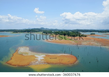 Aerial view of Gatun Lake, Panama Canal on the Atlantic side  - stock photo