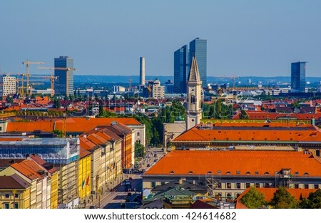 Aerial view of german city munich taken from the top of peterskirche