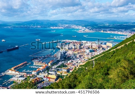 Aerial view of Gibraltar, algeciras bay and la linea de la concepcion taken from the upper rock.