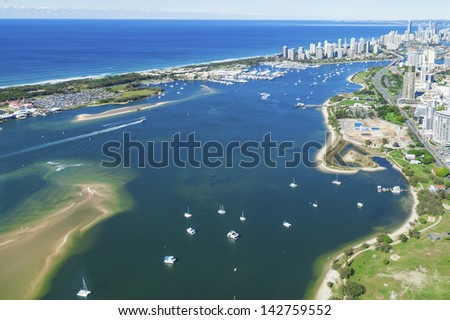 Aerial view of Gold Coast Broadwater, Queensland, Australia - stock photo