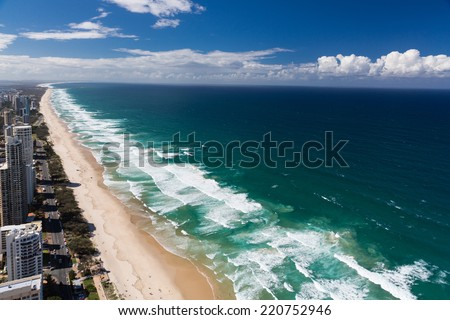 Aerial view of Gold Coast's beaches - stock photo