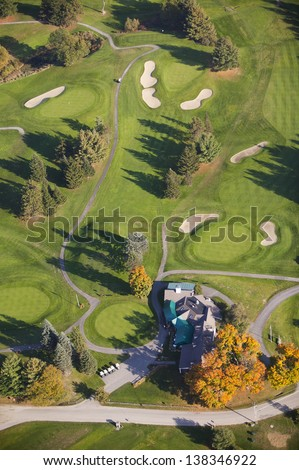 Aerial view of golf course, Stowe, Vermont, USA