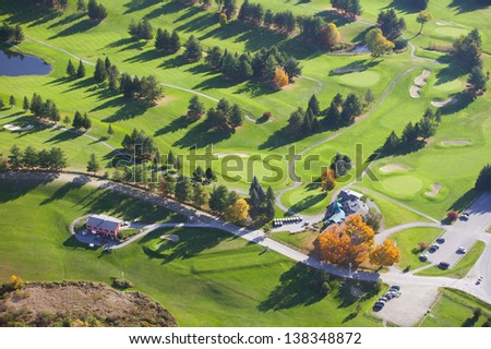 Aerial view of golf course, Stowe, Vermont, USA - stock photo