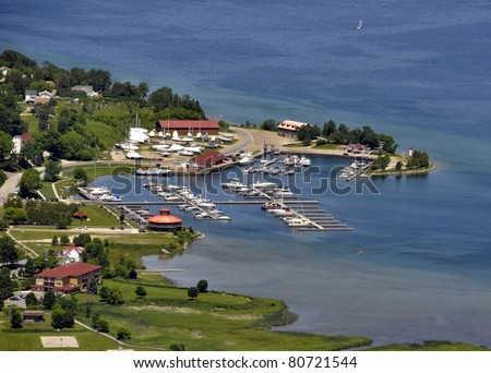 Aerial view of Gore Bay, Manitoulin Island, Ontario Canada - stock photo