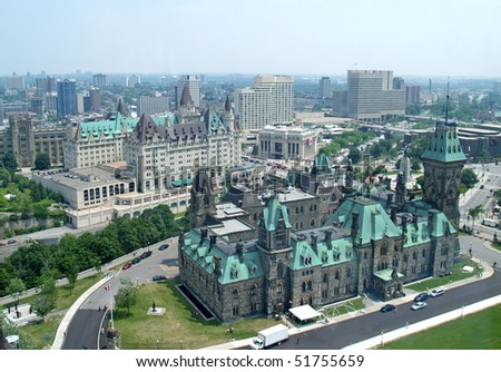 Aerial View of government buildings in Ottawa, Canada - stock photo