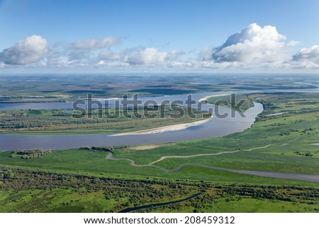 Aerial view of  great river during summer. - stock photo