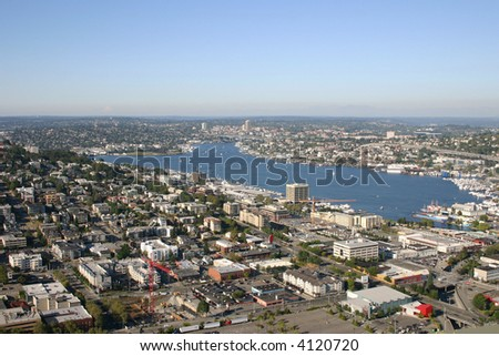 Aerial view of Green Lake in Seattle - stock photo