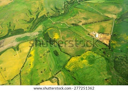 Aerial view of green meadows in Sardinia, Italy - stock photo