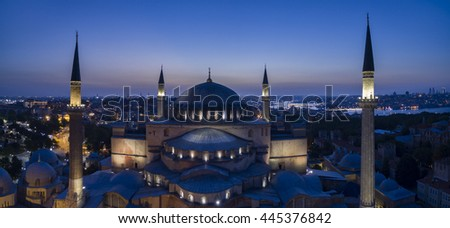 Aerial view of Hagia Sophia Cathedral/ Museum/ Mosque in Istanbul Turkey - stock photo