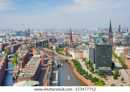Aerial view of Hamburg and Hamburg port - stock photo
