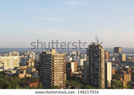 Aerial view of Hamilton, Ontario, Canada - stock photo